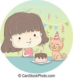 ciastko, dziewczyna, urodziny, koźlę, kot