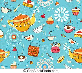ciastko, herbata, seamless, tło