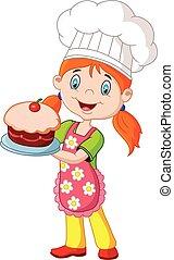 ciastko, mały, rysunek, dziewczyna, dzierżawa