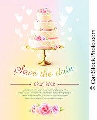ciastko, realistyczny, zaproszenie, karta, ślub