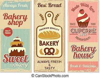ciasto, restauracja, słodki, gotowanie, logotype, banners., piekarnia, wektor, szablon, menu, projektowanie, kuchnia