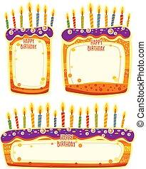 ciasto, tekst, formułować, urodziny, miejsce, chorągwie