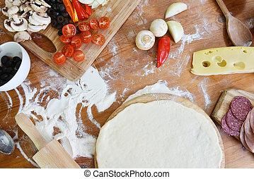 ciasto, zachwycający, pizza