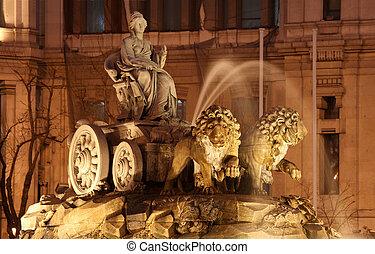 cibeles de piazza, madrid, spain., questo, neoclassico, fontana, era, costruito, fra, 1777, e, 1782, e, ha, diventare, un, iconic, punto di riferimento, in, il, spagnolo, capital.