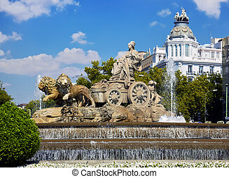 Cibeles fountain at Madrid, Spain - architecture background