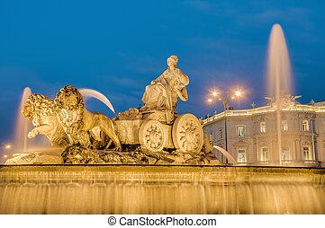 Cibeles Fountain at Madrid, Spain - Cibeles Fountain located...