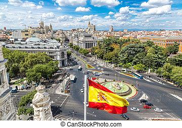 Cibeles fountain at Plaza de Cibeles in Madrid - Aerial view...