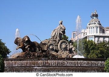 Cibeles fountain - Madrid, Spain. Famous Cibeles fountain in...
