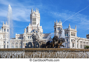 Cibeles Palace and fountain at the Plaza de Cibeles in...