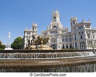 Cibeles Square and Palacio de Comunicaciones, Madrid -...