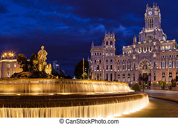 Cibeles Square at Night, Madrid, Spain