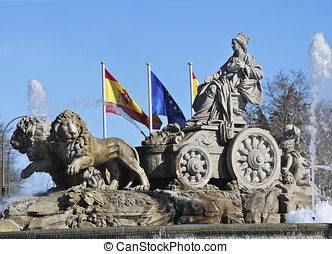 Cibeles - Statue of Cibeles. Very famous fountain in Madrid,...