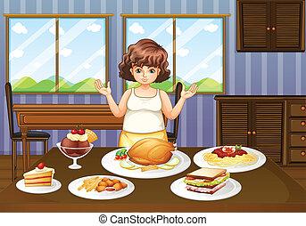 cibi, fronte, tavola, molti, signora grassa