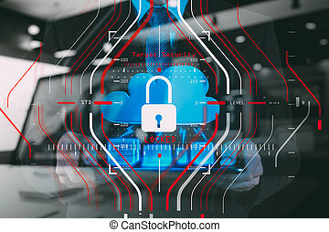 cible, affaires financent, général, concept., protection, règlement, verrouillé, informatique, technology., halogram, reussite, fonctionnement, (gdpr), sécurité, données