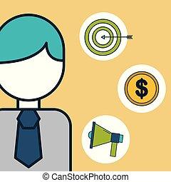 cible, argent, commercialisation, numérique, homme affaires, porte voix