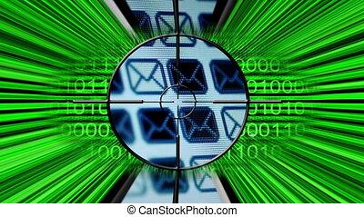 cible, e-mail, concept, ligne