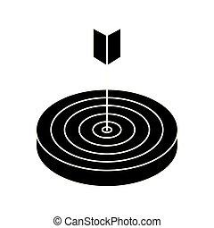 cible, flèche, silhouette, isolé, icône