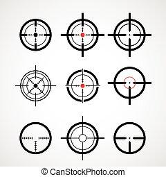 cible, (gun, sight), icônes, réticule