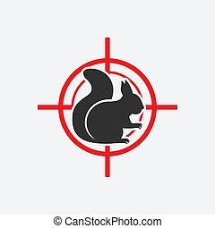cible, icône, animal, silhouette., casse-pieds, écureuil rouge