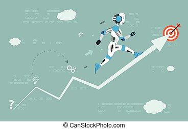 cible, robot, courant, flèche, données, dessin animé
