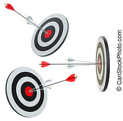cible, succès, dans, les, centre, par, flèches