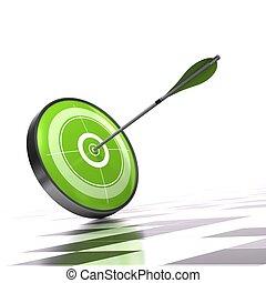 cible, sur, flèche, contrôleur, arrière-plan vert