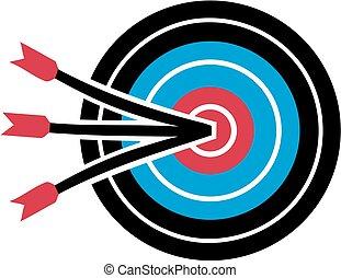 cible tir arc, à, trois, flèches, dans milieu