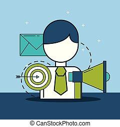 cibler commercialisation, numérique, homme affaires, porte voix, email