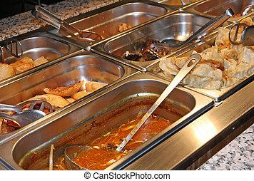 cibo, a, il, stesso servizio, ristorante cinese