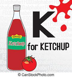cibo, alfabeto, k, ketchup