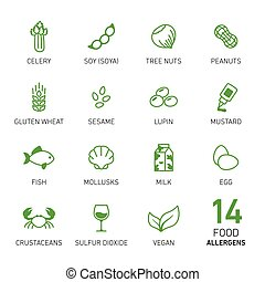 cibo, allergens, set
