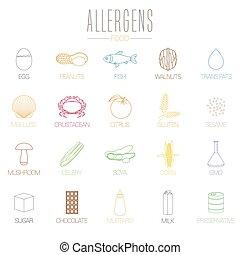 cibo, allergia, set, vettore, icone