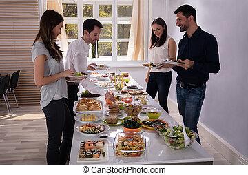 cibo, amici, mangiare, giovane, delizioso