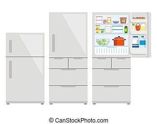 cibo., aperto, chiuso, frigo, frigorifero, o