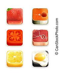 cibo, app, vettore, set, icone