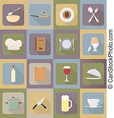 cibo, apparecchiatura, vettore, oggetti, illustrazione