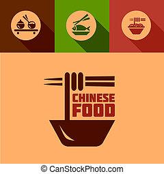 cibo, appartamento, elementi, disegno, cinese