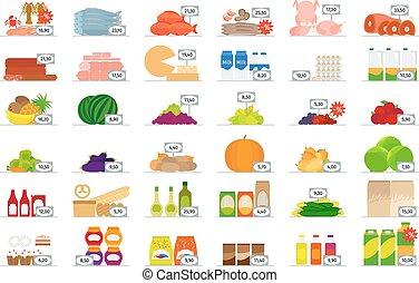 cibo, appartamento, mercato, icone