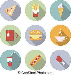 cibo, appartamento, vettore, icone