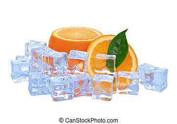 cibo, arancia, cubi, fondo, ghiaccio