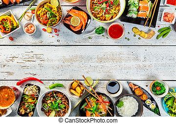 cibo asiatico, servito, su, tavola legno, vista superiore,...