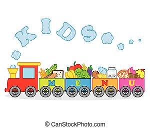 cibo, automobili, portante, treno, loro