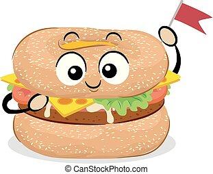 cibo, bagel, mascotte, illustrazione, hamburger