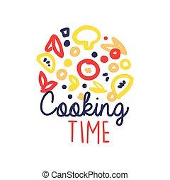 cibo bambini, cottura, club, sagoma, logotipo, disegno