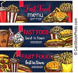 cibo, bandiere, vettore, digiuno, ristorante