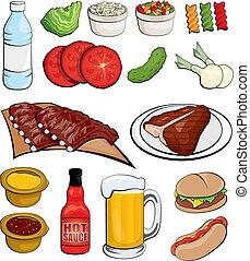 cibo, barbecue, icone