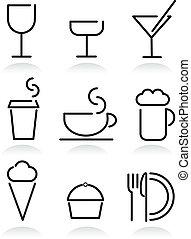 cibo, bevanda, bianco, set, icone