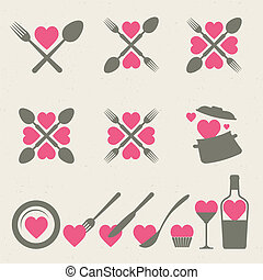cibo, bevanda, collezione, icone