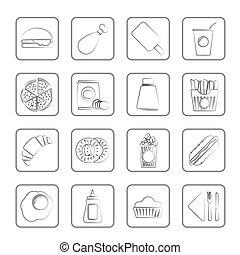 cibo, bevanda, digiuno, icone