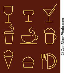 cibo, bevanda, set, icone
